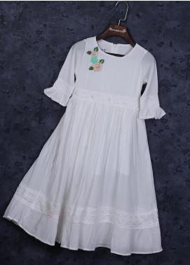 Sanaulla Exclusive Range Cotton Fancy Girls Frocks -  22506-5 White