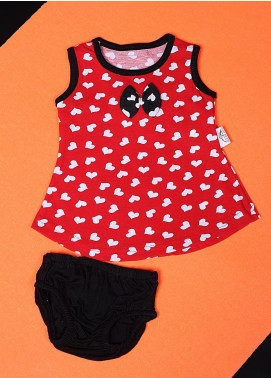 Sanaulla Exclusive Range Cotton Casual Girls Suit -  22542-1 Red