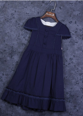 Sanaulla Exclusive Range Cotton Fancy Frocks for Girls -  22665-5 Blue