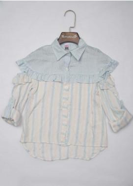 Sanaulla Exclusive Range Cotton Fancy Girls Tops -  2035 Blue
