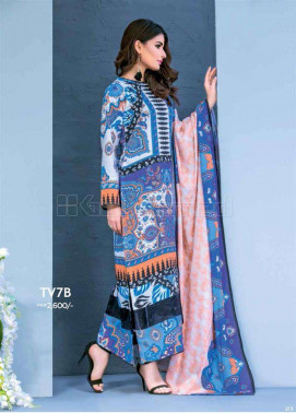 Gul Ahmed Printed Linen Unstitched 2 Piece Suit GL17W TV7B
