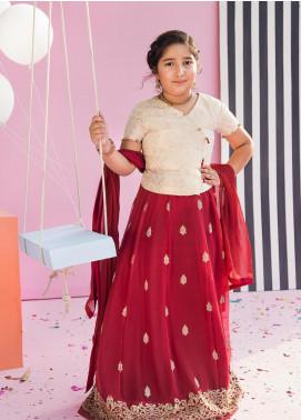 Gulaal Jacquard Embroidered Girls Lehnga With Choli - Maroon GL18K 02