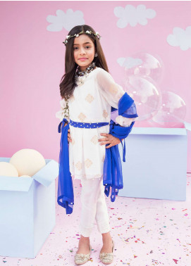 Gulaal Chiffon Embroidered 3 Piece Suit for Girls - White GL18K 05