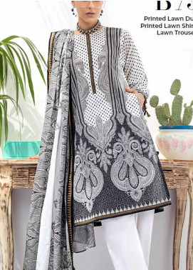 Gul Ahmed Printed Lawn Unstitched 3 Piece Suit GA20BW B-73 - Black & White Collection