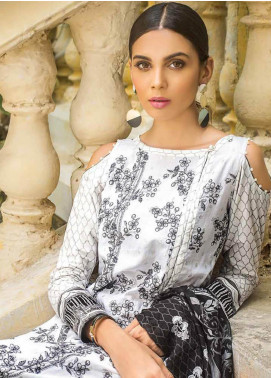 Gul Ahmed Embroidered Cotton Unstitched 3 Piece Suit GA19BW B-50 - Black & White Collection