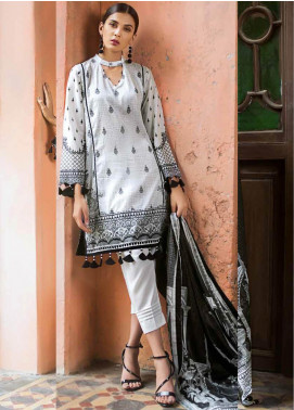 Gul Ahmed Printed Cotton Unstitched 2 Piece Suit GA19BW BT-12 - Black & White Collection