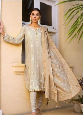 Gul Ahmed Embroidered Cotton Silk Unstitched 3 Piece Suit GAF19CS EA-63 - Festive Collection