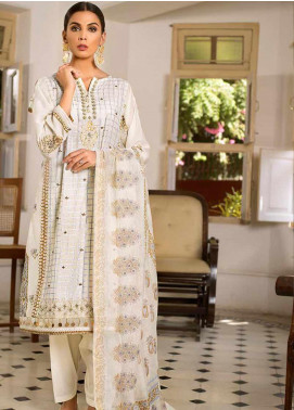 Gul Ahmed Embroidered Cotton Silk Unstitched 3 Piece Suit GAF19CS EA-98 - Festive Collection