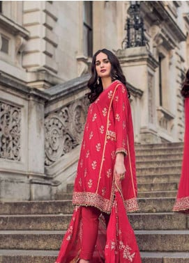 Gul Ahmed Embroidered Cotton Silk Unstitched 3 Piece Suit GA19E FE-175 - Eid Collection