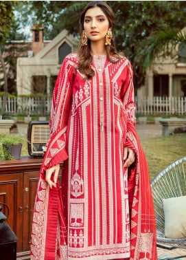 Gul Ahmed Printed Satin Unstitched 3 Piece Suit GA20FP 261 - Festive Collection