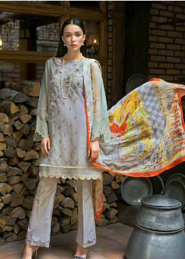 Gul Ahmed Embroidered Organza Unstitched 3 Piece Suit GA19FB PS-11 Golden Blues - Formal Collection