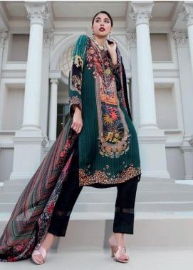 Gul Ahmed Embroidered Viscose Unstitched 2 Piece Suit GA19DL DGT 83 Cashmere Flora - Winter Collection
