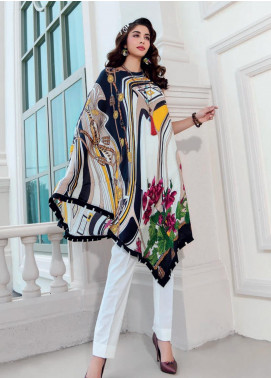 Gul Ahmed Printed Charmeuse Silk Unstitched Kurties GA19DL SDGS 89 Monochrome Chic - Winter Collection