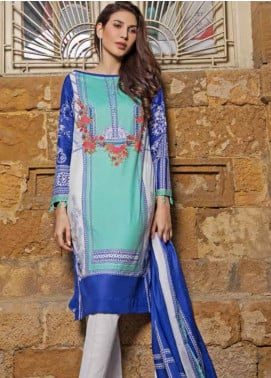 Gul Ahmed Printed Lawn Unstitched 3 Piece Suit GAM19-L2 CL-496B - Mid Summer Collection
