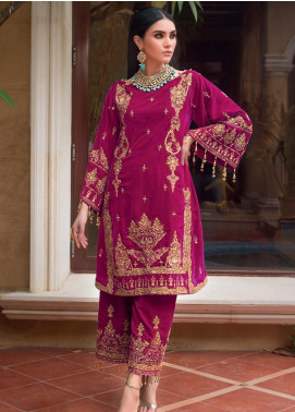 Gul Ahmed Embroidered Velvet Unstitched 2 Piece Suit GA19NC VLT 08 RUBY - Winter Collection