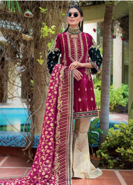Gul Ahmed Embroidered Velvet Unstitched 3 Piece Suit GA19NC VLW 07 OPAL - Winter Collection
