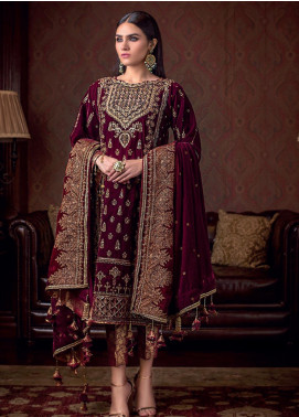 Gul Ahmed Embroidered Velvet Winter Collection 13 Polki 2019