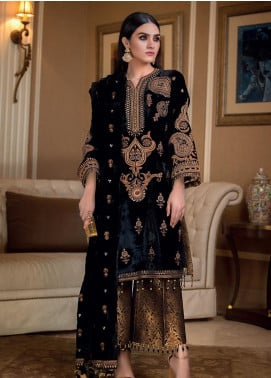 Gul Ahmed Embroidered Velvet Unstitched 3 Piece Suit GA19NC VLW 14 MEENAKARI - Winter Collection