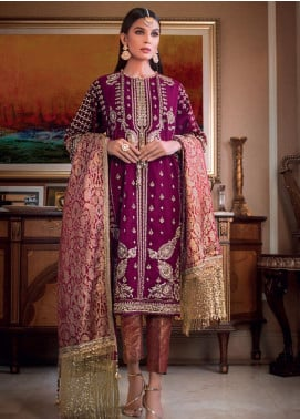 Gul Ahmed Embroidered Velvet Unstitched 3 Piece Suit GA19NC VLW 19 AQEEQ - Winter Collection