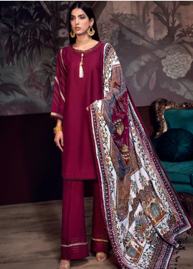 Gul Ahmed Embroidered Raw Silk Unstitched 3 Piece Suit GA19NC VSH 01 DIAMOND - Winter Collection