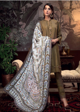 Gul Ahmed Embroidered Raw Silk Unstitched 3 Piece Suit GA19NC VSH 04 GOLD - Winter Collection