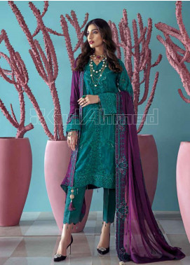 Gul Ahmed Embroidered Chiffon Unstitched 3 Piece Suit GA20PL LE-20 - Spring / Summer Collection