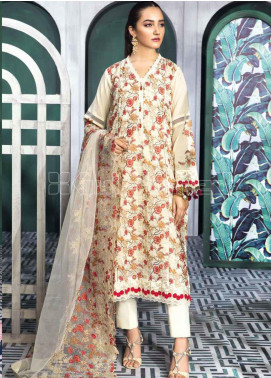 Gul Ahmed Embroidered Swiss Voile Unstitched 3 Piece Suit GA20PL LSV-28 - Spring / Summer Collection
