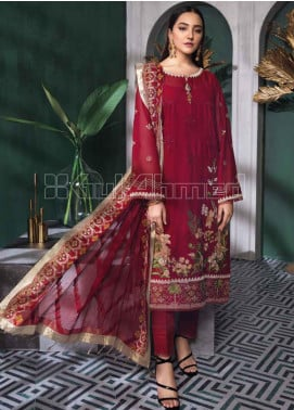 Gul Ahmed Embroidered Swiss Voile Unstitched 3 Piece Suit GA20PL LSV-35 - Spring / Summer Collection