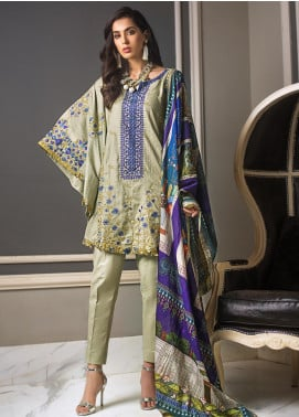 Gul Ahmed Embroidered Jacqaurd Unstitched 3 Piece Suit GAS19CS DCS-10 - Luxury Collection