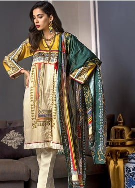Gul Ahmed Printed Cotton Satin Unstitched 2 Piece Suit GAS19CS TDCS-01 - Luxury Collection