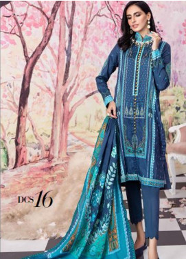 Gul Ahmed Jacquard Printed Satin Unstitched 3 Piece Suit GA20SH DCS-16 NAVY - Winter Collection