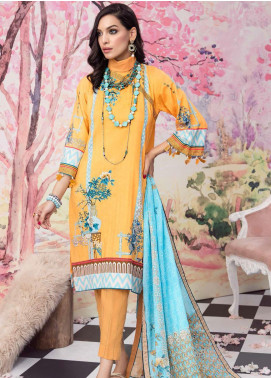 Gul Ahmed Jacquard Printed Satin Unstitched 3 Piece Suit GA20SH DCS-17 YELLOW - Winter Collection