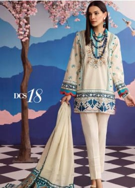 Gul Ahmed Jacquard Printed Satin Unstitched 3 Piece Suit GA20SH DCS-18 OFF WHITE - Winter Collection
