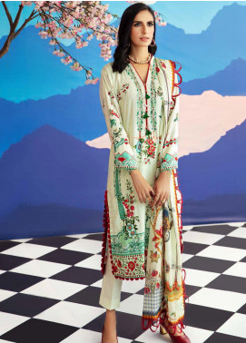Gul Ahmed Jacquard Printed Satin Unstitched 3 Piece Suit GA20SH DCS-20 OFF WHITE - Winter Collection
