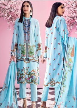 Gul Ahmed Jacquard Printed Satin Unstitched 3 Piece Suit GA20SH DCS-22 SKY BLUE - Winter Collection