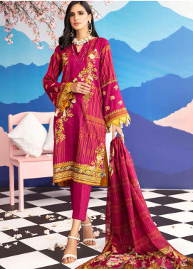 Gul Ahmed Jacquard Printed Satin Unstitched 3 Piece Suit GA20SH DCS-28 S-PINK - Winter Collection