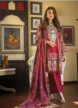 Gul Ahmed Embroidered Khaddar Unstitched 3 Piece Suit GA19W DK-07 - Winter Collection