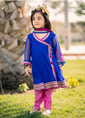 Gulaal Chiffon Embroidered Girls 3 Piece Suit - Magenta KS-04-18