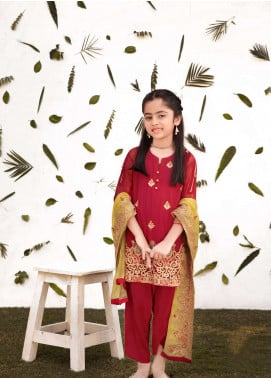 Gulaal Chiffon Embroidered Girls 3 Piece Suit - Red KW-03