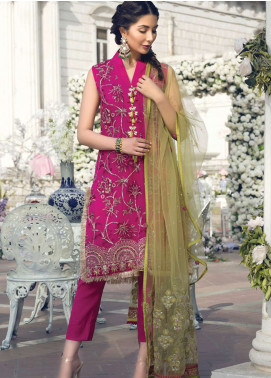 Gulaal Embroidered Chiffon Unstitched 3 Piece Suit GL19E 07 FUCHSIA BLOOM - Eid Collection