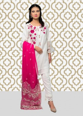 Gulaal Embroidered Cotton Net Stitched 3 Piece Suit SK-05 White