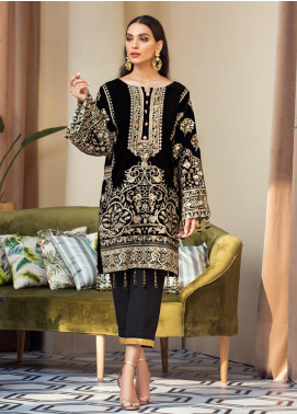 Gulaal Embroidered Velvet Unstitched 2 Piece Suit GL19V 01 NIGHT ORCHID - Wedding Collection