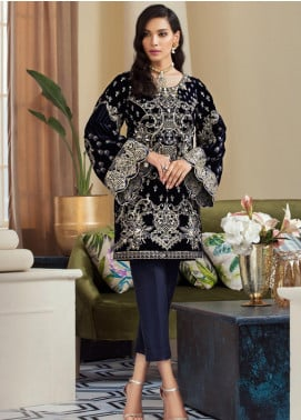 Gulaal Embroidered Velvet Unstitched 2 Piece Suit GL19V 02 STARRY NIGHT - Wedding Collection