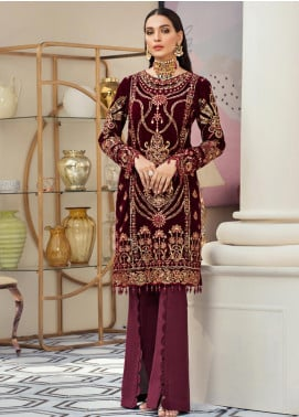 Gulaal Embroidered Velvet Unstitched 2 Piece Suit GL19V 04 JEWEL - Wedding Collection