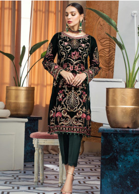 Gulaal Embroidered Velvet Unstitched 2 Piece Suit GL19V 07 MONO BLOOM - Wedding Collection