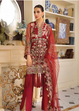 Gulaal Embroidered Zari Net Unstitched 3 Piece Suit GL19F 03 ROUGE RUBIS - Luxury Collection
