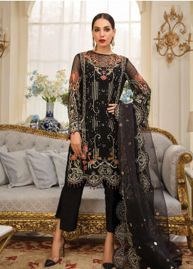 Gulaal Embroidered Chiffon Unstitched 3 Piece Suit GL19F 07 NOIRE - Luxury Collection