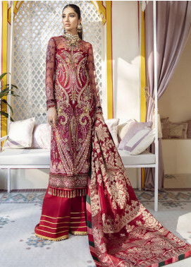Gulaal Embroidered Net Unstitched 3 Piece Suit GL20WD 06 Zeenat - Wedding Collection