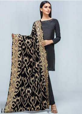 Gulaal Embroidered Velvet  Shawl GL19SHV 02 Black - Winter Luxury Collection