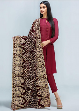 Gulaal Embroidered Velvet  Shawl GL19SHV 03 Maroon - Winter Luxury Collection